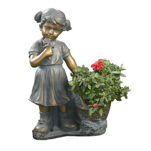 Winsome House Girl Picking Flowers Statue