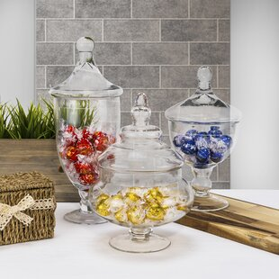 3 Piece Glass Candy Buffet Apothecary Jar Set