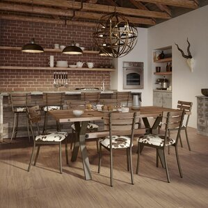 Darcelle 7 Piece Metal And Aged Wood Dining Set