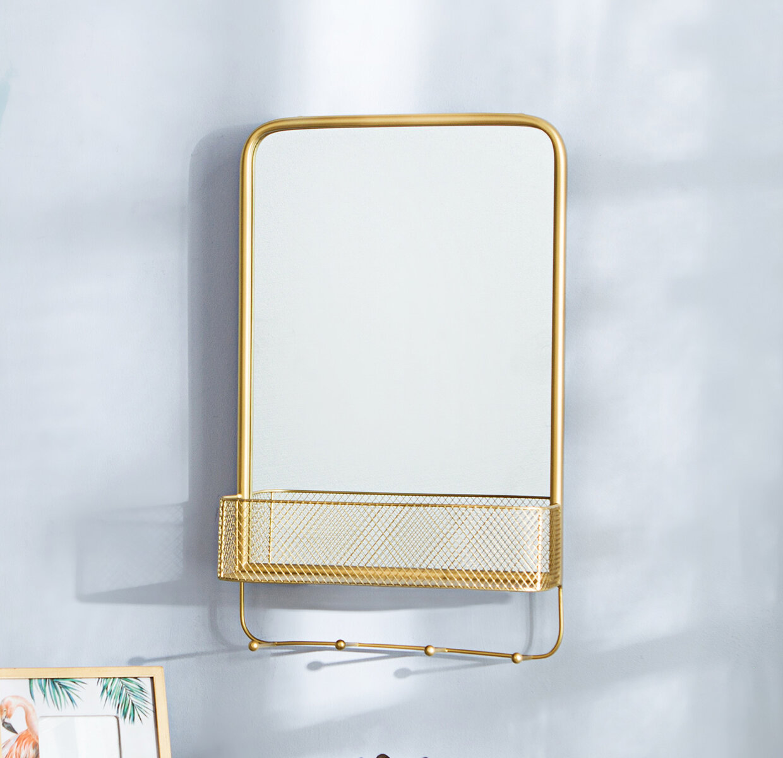 Everly Quinn Attie Bathroom Vanity Mirror With Shelves Wayfair