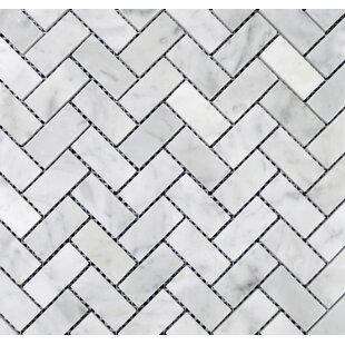 Herringbone 1 x 2 Marble Mosaic Tile in Bianco Carrara