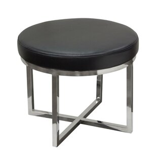 Margarett Leather Upholstered Round Accent Stool by Orren Ellis