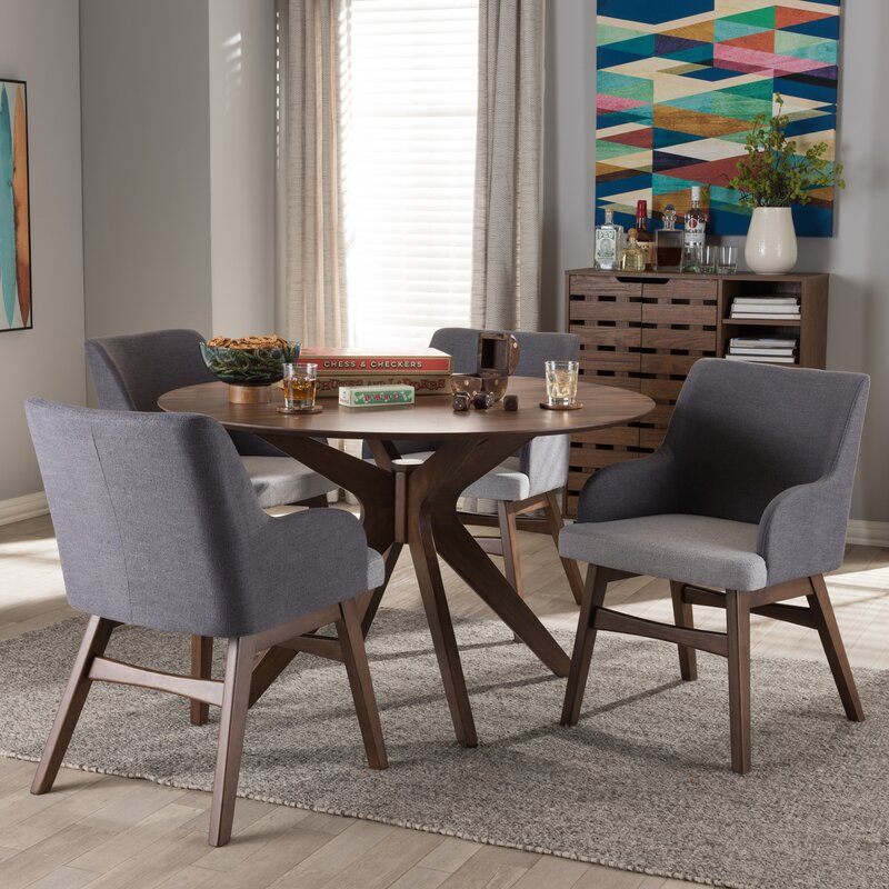 Superior Monte Mid Century Modern Wood Round 5 Piece Dining Set