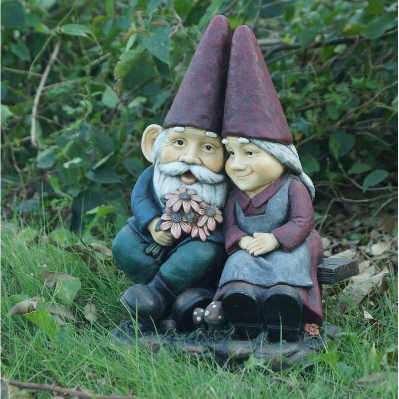 Gnome Old Couple On Bench Statue