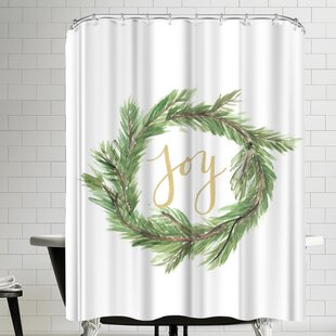 Affordable Price Jetty Printables Wreath Joy Shower Curtain ByEast Urban Home