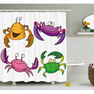 Bullen Crabs Children Decor Illustration of Funny Crabs Pattern Cartoon Style Print Single Shower Curtain