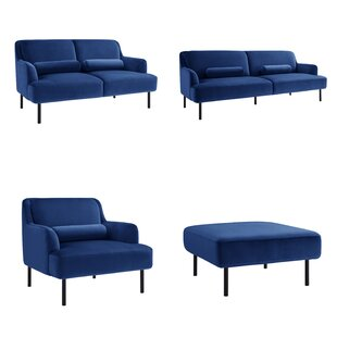 Anchorage 4 Piece Velvet Living Room Set (Set of 4) by Everly Quinn