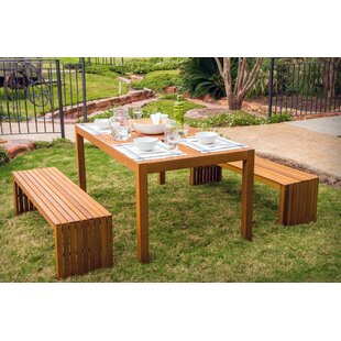Borica 3 Piece Wooden Picnic Table Set