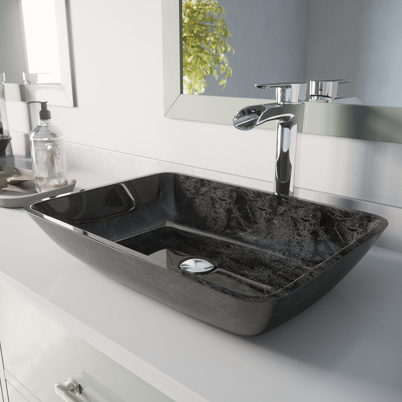 Vigo Onyx Glass Handmade Rectangular Vessel Bathroom Sink With Faucet Reviews Wayfair