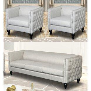 Annuziata 3 Piece Living Room Set by House of Hampton