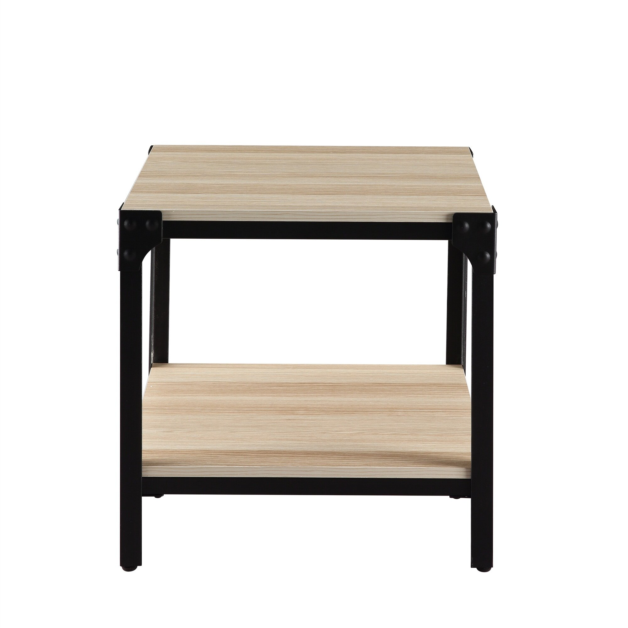 Rustic Farmhouse Square Wood Side End Accent Table With Storage Shelf For  Living Room, Bedroom, Easy Assembly