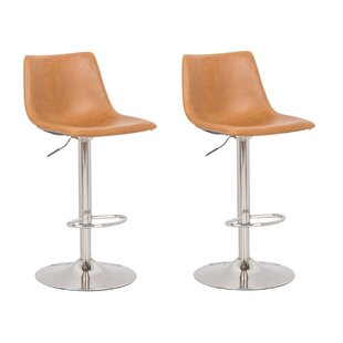 Gothenburg Adjustable Height Swivel Bar Stool (Set of 2) Orren Ellis