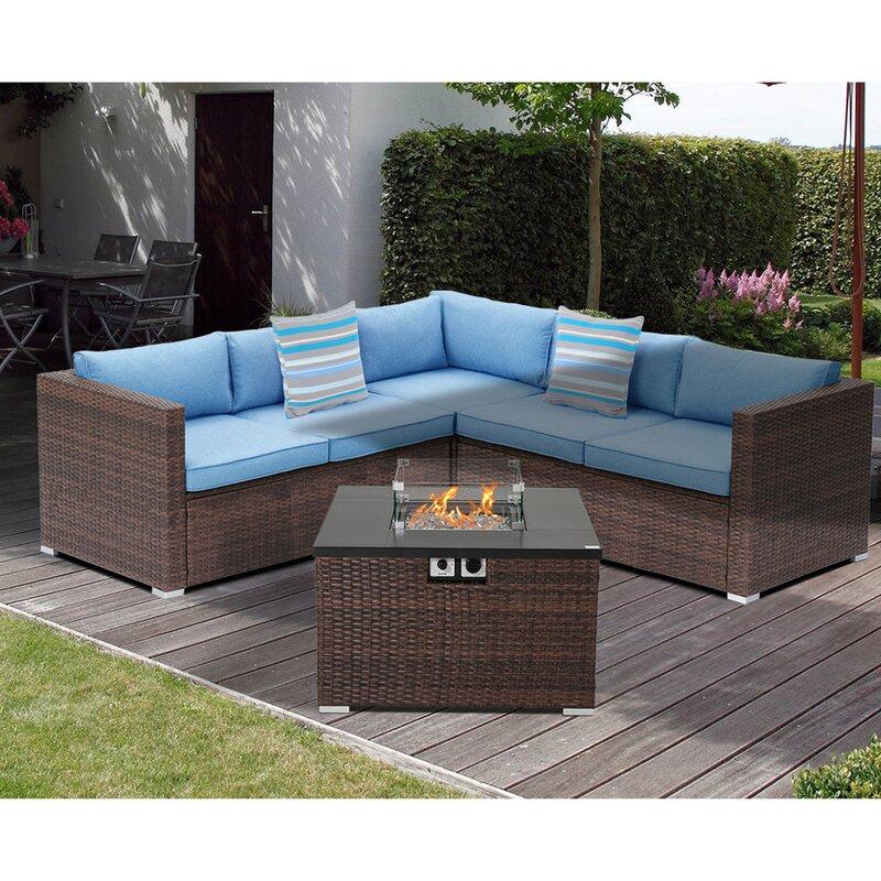 Orren Ellis Ainaro 4 Piece Rattan Sectional Seating Group With Cushions Wayfair