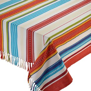 Baja Cantina Stripe Fringed Tablecloth