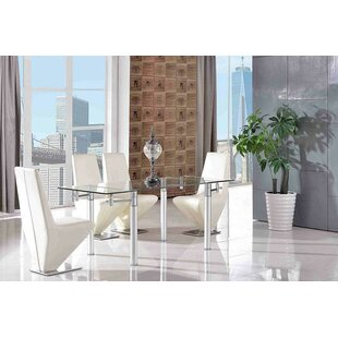 Bichir Steel Clear Glass Dining Set With 4 Chairs By Metro Lane