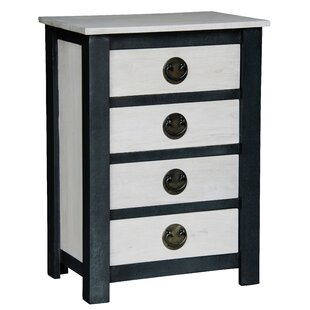 NES Furniture Irvine Fine Handcrafted Solid Mahogany Wood 4 Drawer Nightstand