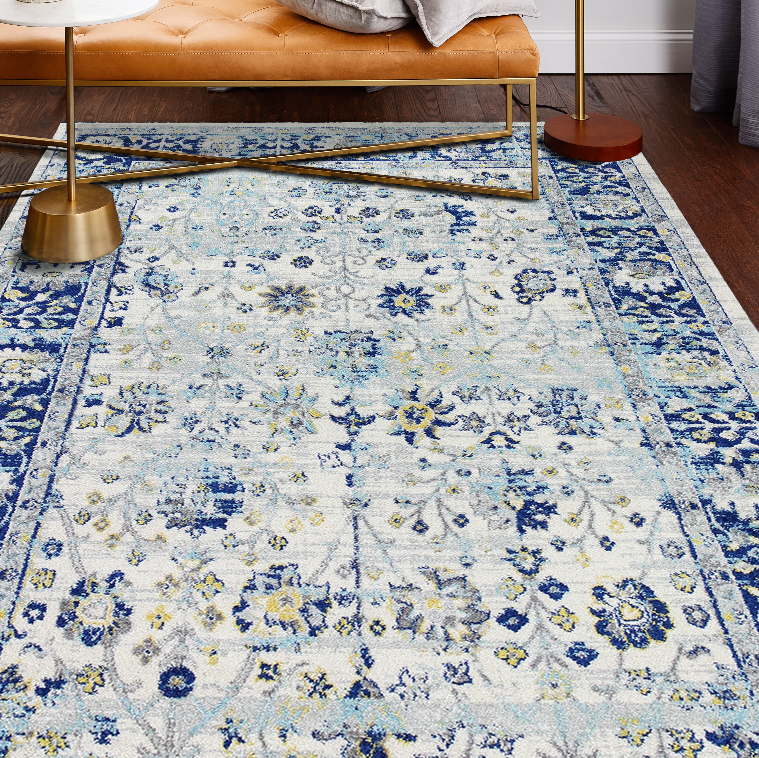 Picture of: World Menagerie Chupp Ivory Blue Yellow Area Rug Reviews
