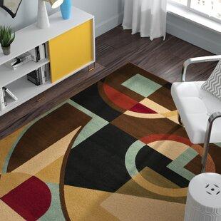 Nanette Flower-Petal Black / Multi Contemporary Rug byZipcode Design