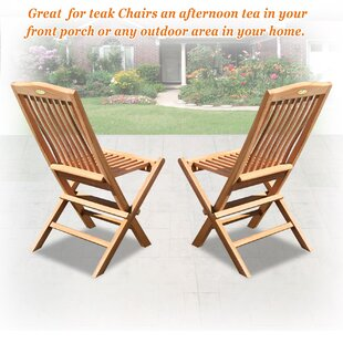 Emilia Folding Teak Patio Dining Chair (Set Of 2) by Millwood Pines Discount