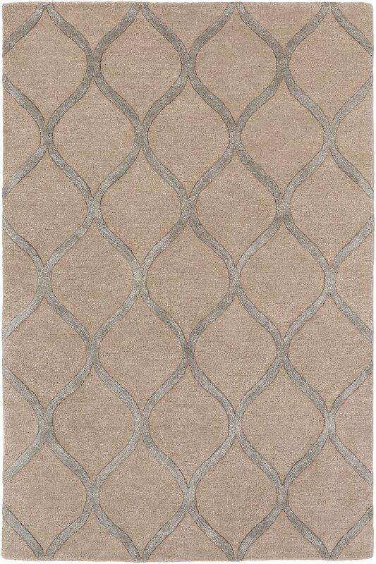 Cassidy Beige Geometric Wool Area Rug