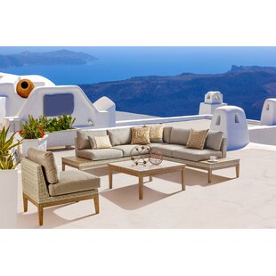 Rosecliff Heights Darnell Patio 4 Piece Rattan Sectional Seating Group with Cushions