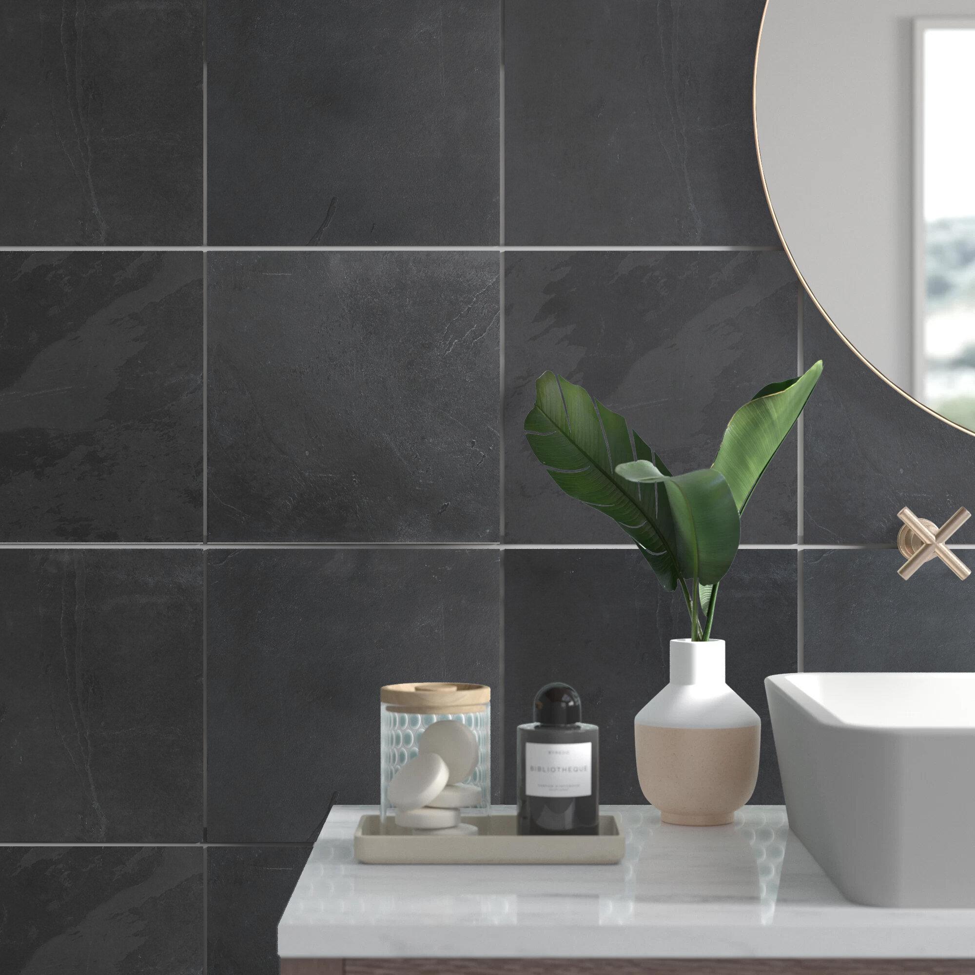 Teo 12 X 12 Slate Field Tile In Black Gray Reviews Allmodern