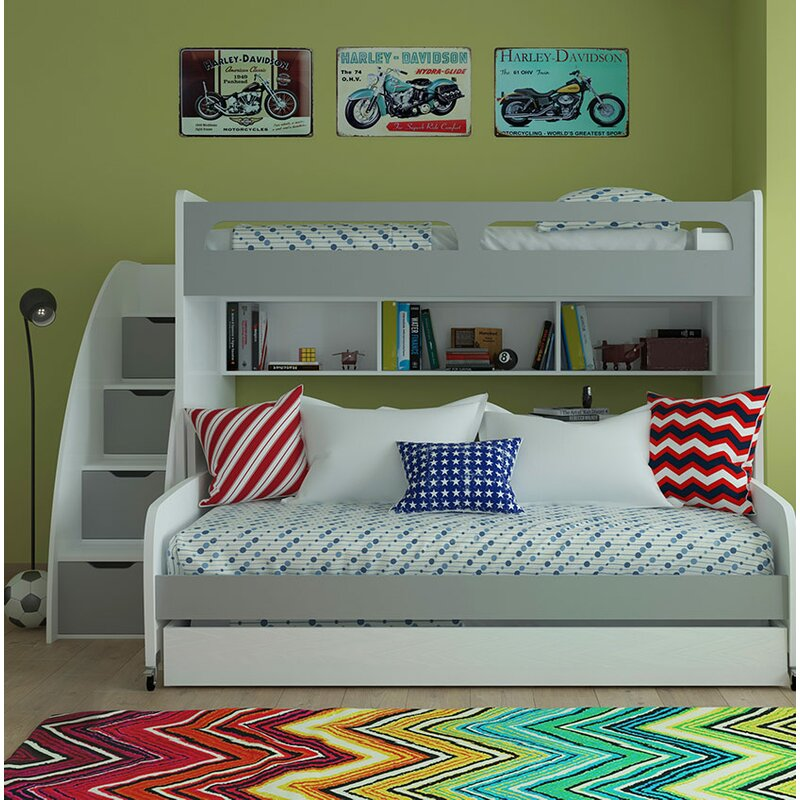 Brayden Studio Gautreau Twin Futon Bunk Bed With Table And Trundle