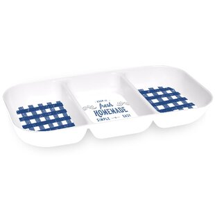 Lostwithiel Gingham 3 Section Melamine Divided Serving Dish