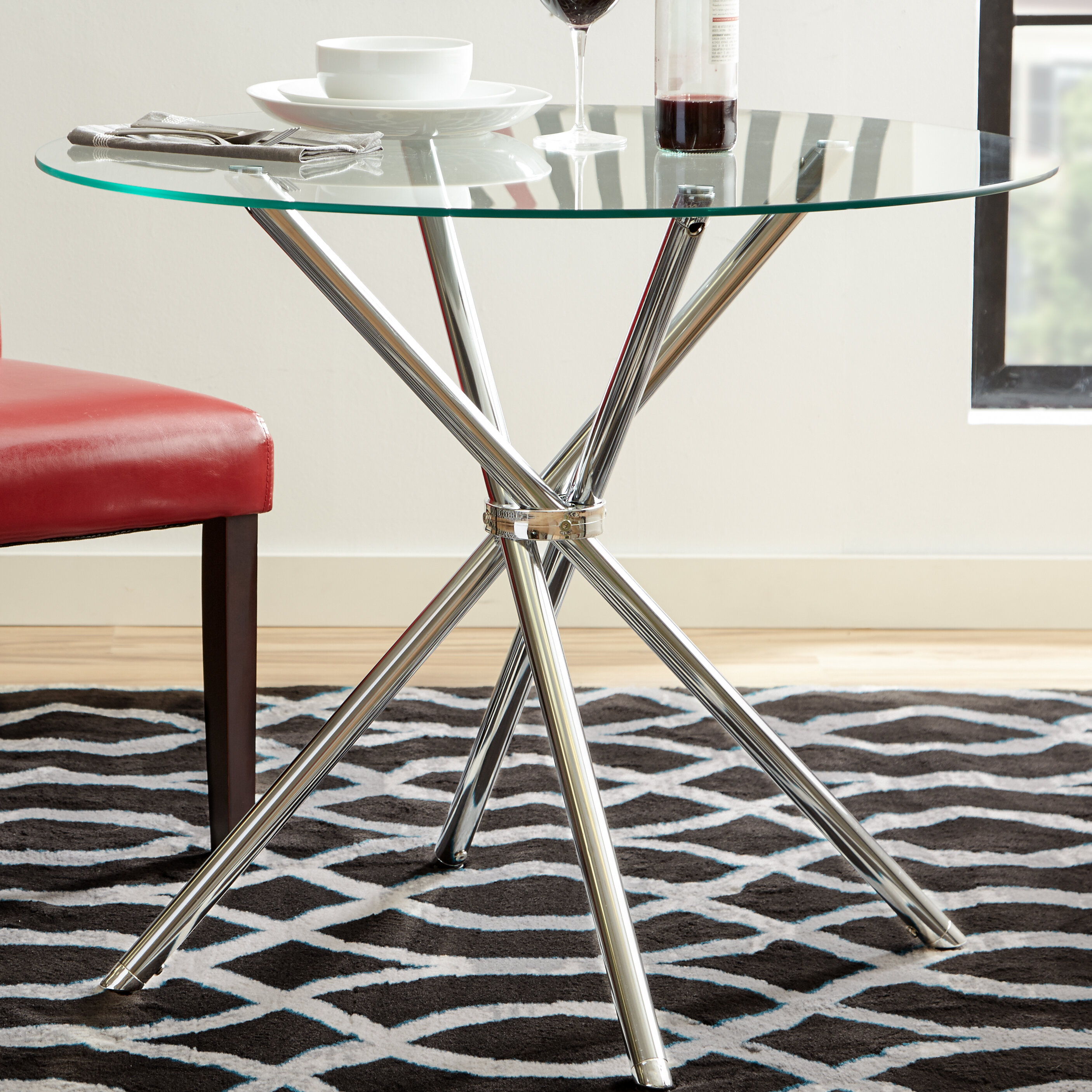 Zipcode design vince glass dining table reviews wayfair