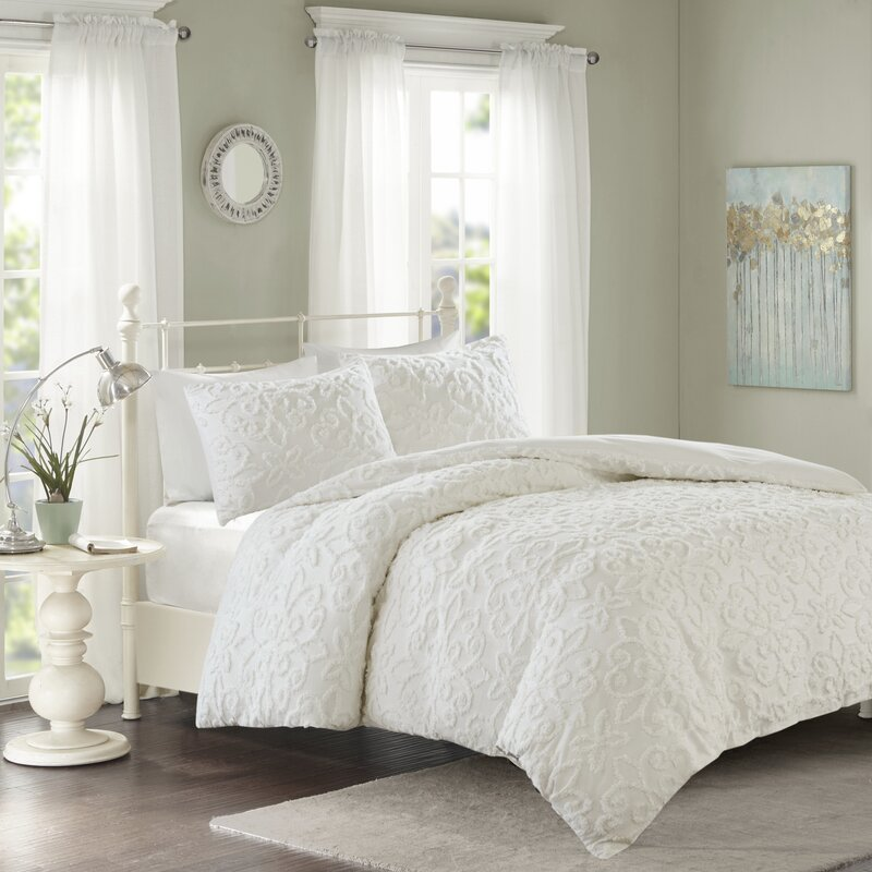 Ophelia Co Keeney Tufted Cotton Chenille Duvet Cover Set