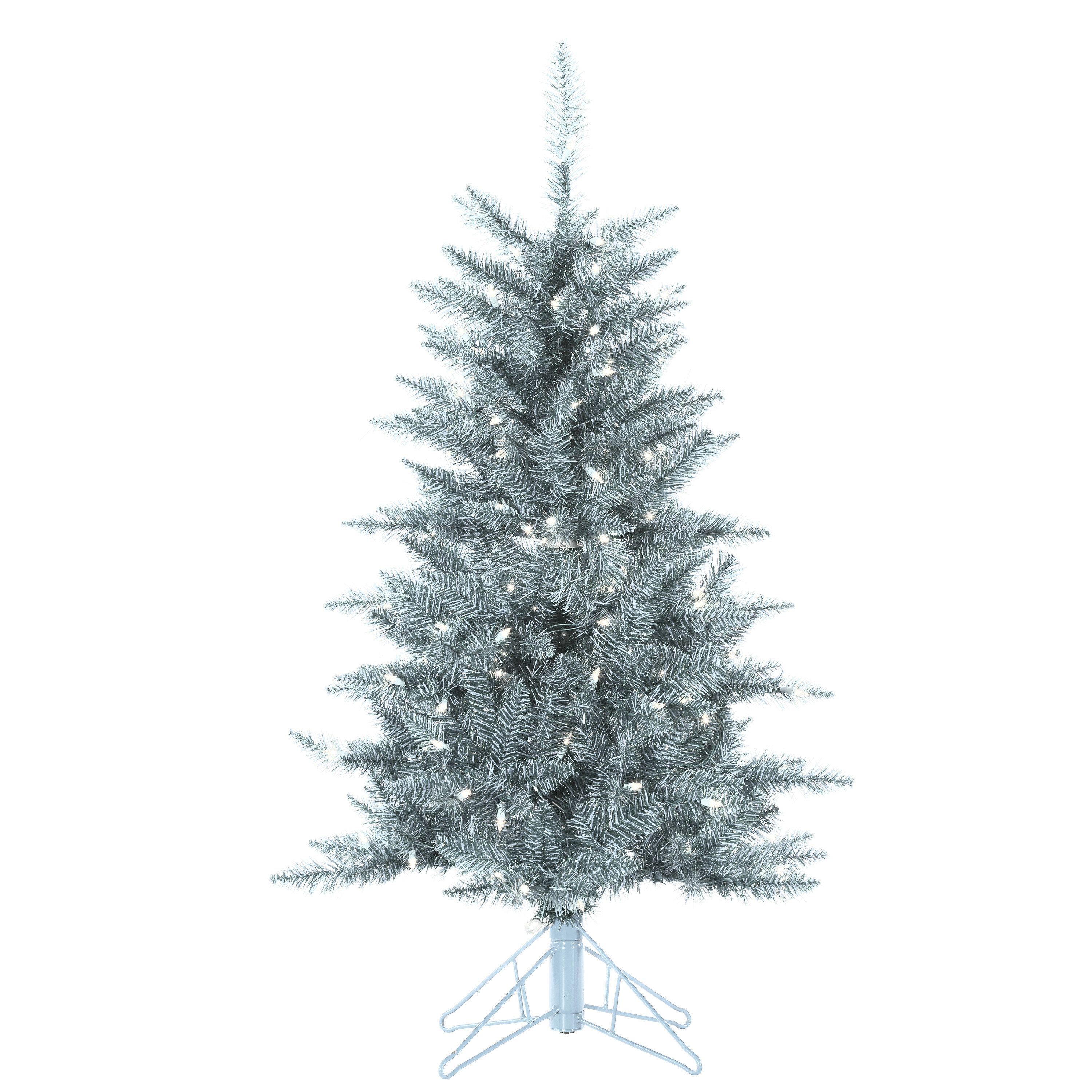 Sterling Inc Tuscany Tinsel 4\' Silver Artificial Christmas Tree with ...