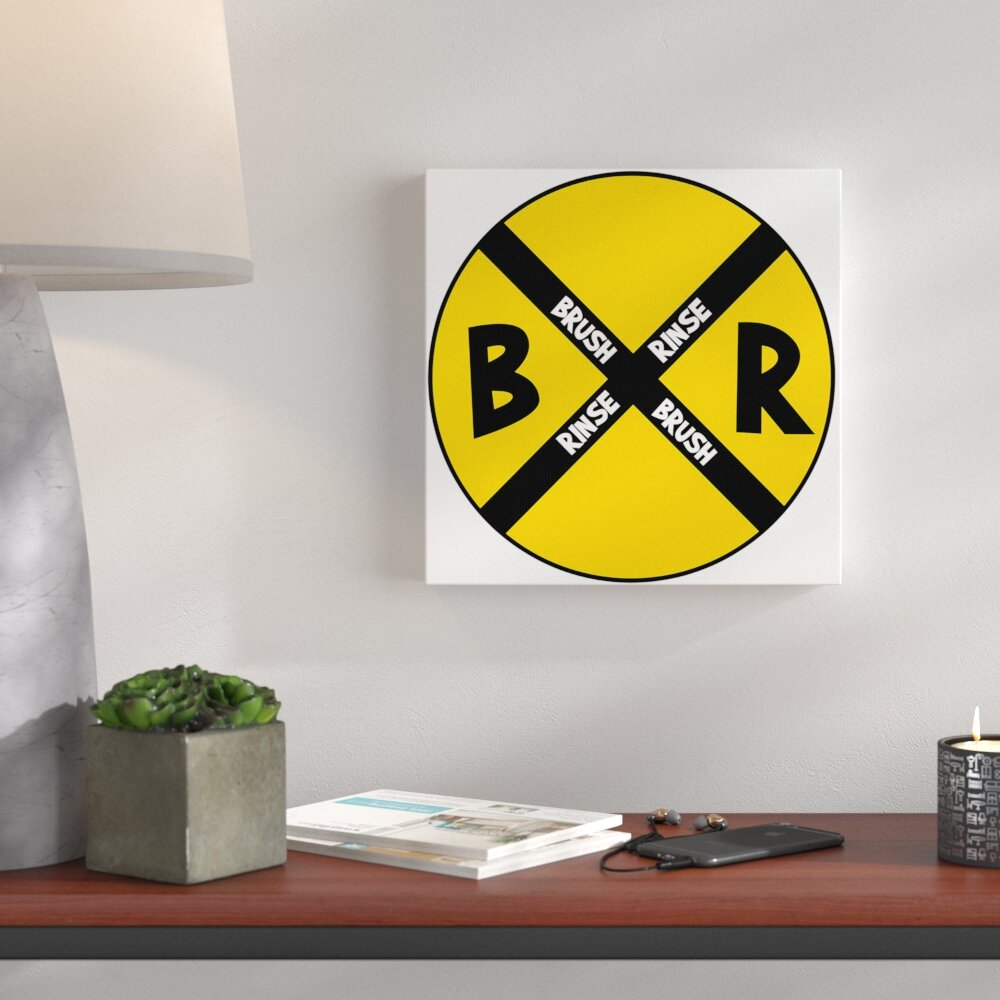 Wrought Studio \'Brush and Rinse Crossroads Sign\' Textual Art | Wayfair