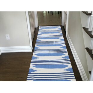 Searching for One-of-a-Kind Gadberry Reversible Handmade Kilim 2'7 x 10'1 Cotton Blue/White Area Rug By Isabelline
