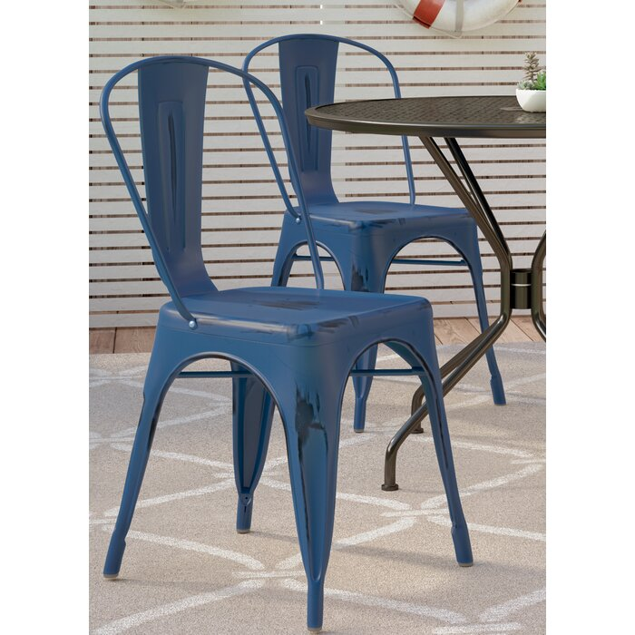 Antiques VINTAGE STACKING CHAIRS DARK BLUE STACKABLE SEATING DINING CHAIRS