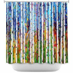Celentano Autumn Birch Trees I Single Shower Curtain