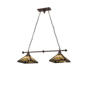 Meyda Tiffany Greenbriar Oak Nuevo Mission 2-Light Pool Table Lights Pendant