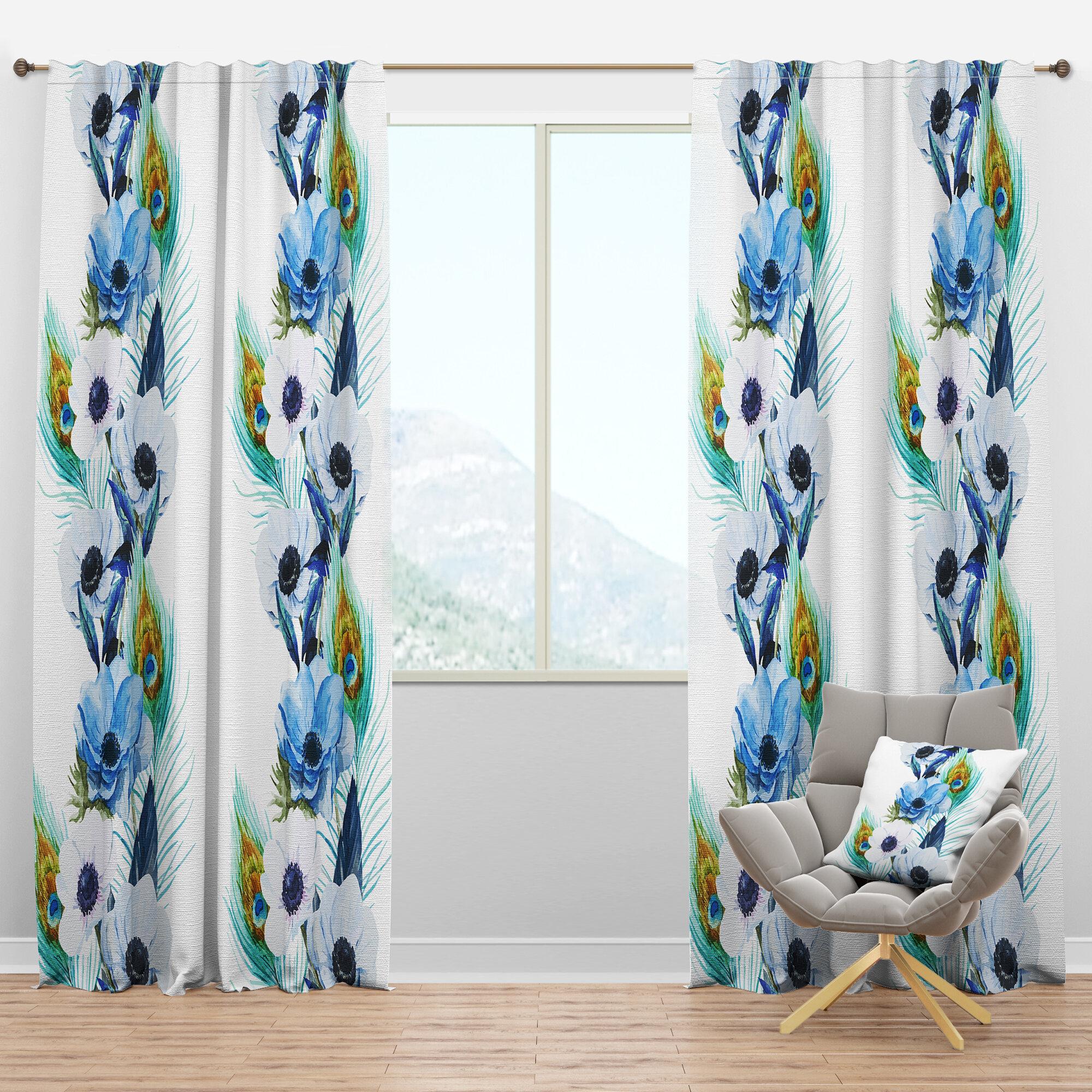 Designart Handpainted Anemones And Peacock Feathers Floral Semi Sheer Thermal Rod Pocket Curtain Panels Wayfair