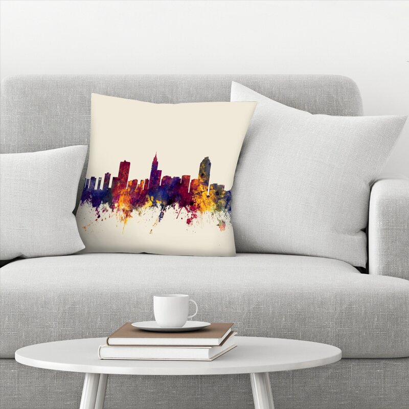 East Urban Home Raleigh North Carolina Skyline New 3 Throw Pillow Wayfair