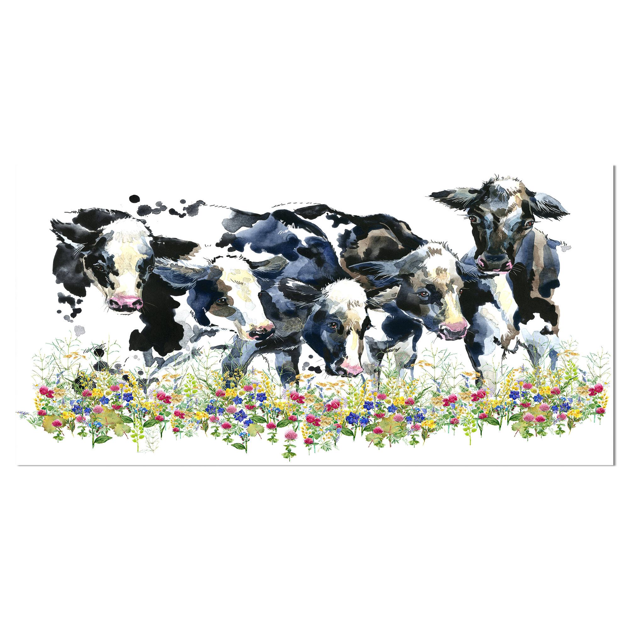East Urban Home Dairy Cow On Field Painting Print Wayfair