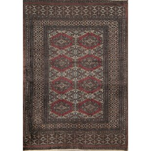 Coupon Euclid Bokhara Oriental Hand-Knotted Wool Gray/Black Area Rug ByBloomsbury Market