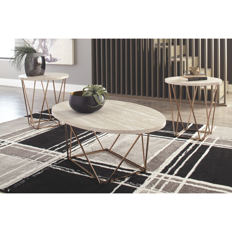 Lembo Two-Tone Occasional 3 Piece Coffee Table Set