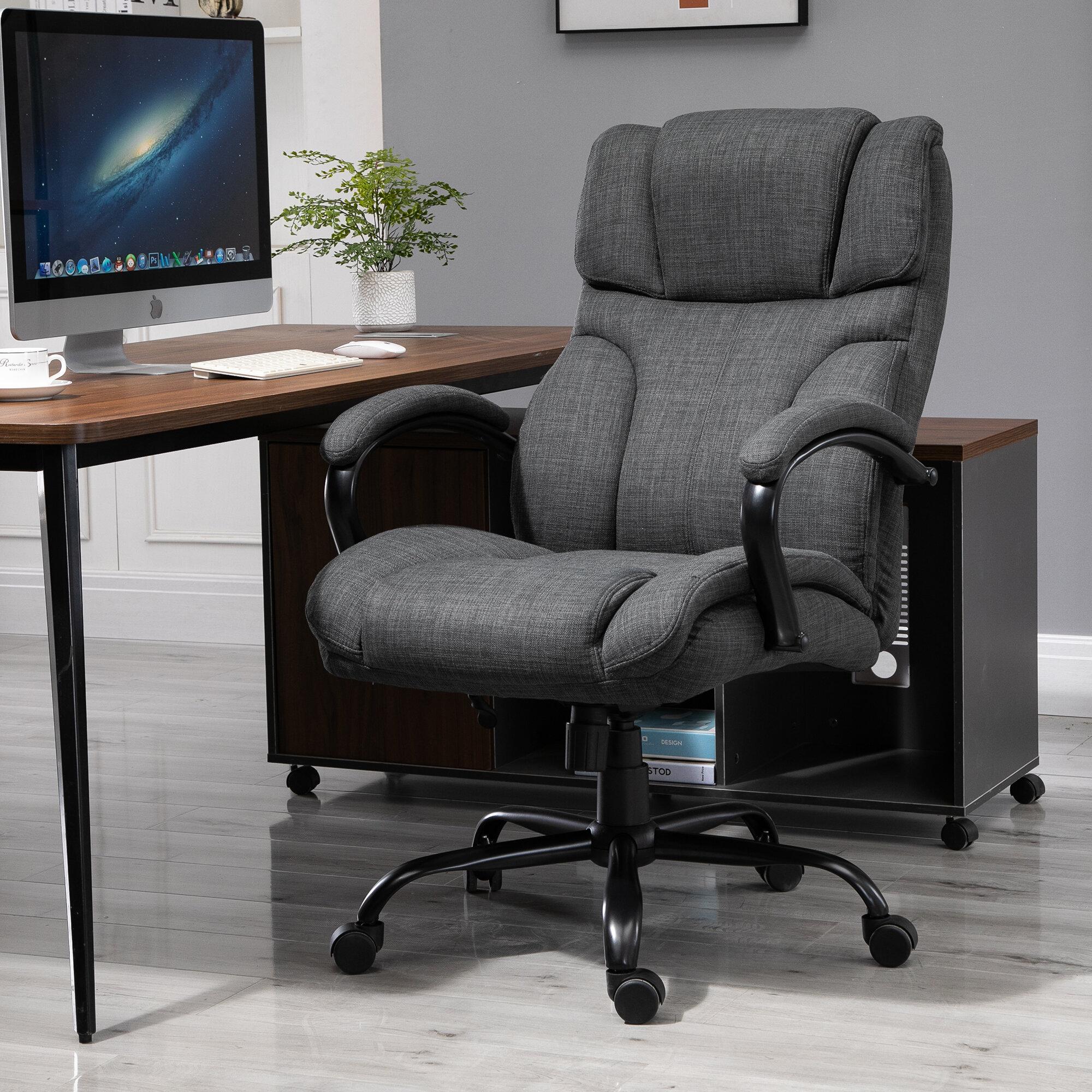 Latitude Run Ergonomic Big And Tall Fabric Office Chair With Wheels Paddedwide Seat Desk Task Seat 360 Swivel Hold Up To 500lbs Deep Grey Reviews Wayfair Ca