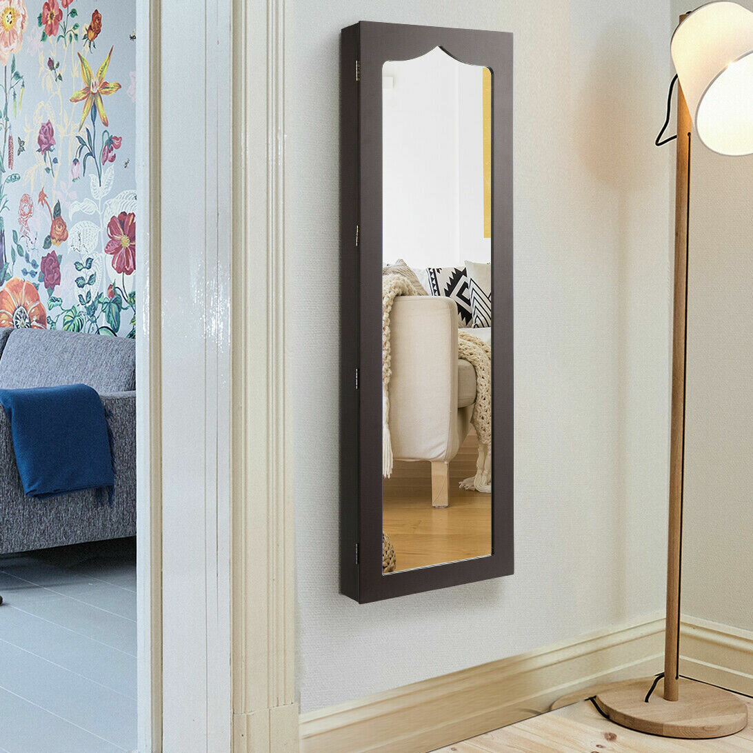 Image of: Ebern Designs Converton Led Wall Mounted Jewelry Armoire With Mirror Reviews Wayfair