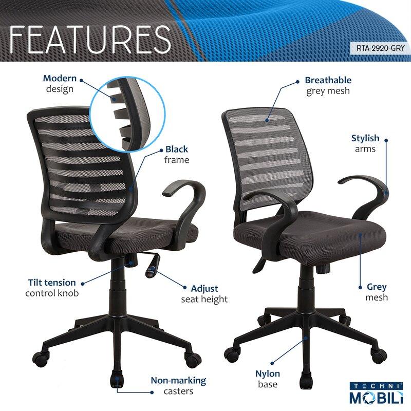 Hayden Rolling Mid-Back Mesh Office Chair  sc 1 st  Wayfair & Ebern Designs Hayden Rolling Mid-Back Mesh Office Chair | Wayfair