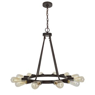 Corrigan Studio Flower Hill 12-Light Wagon Wheel Chandelier
