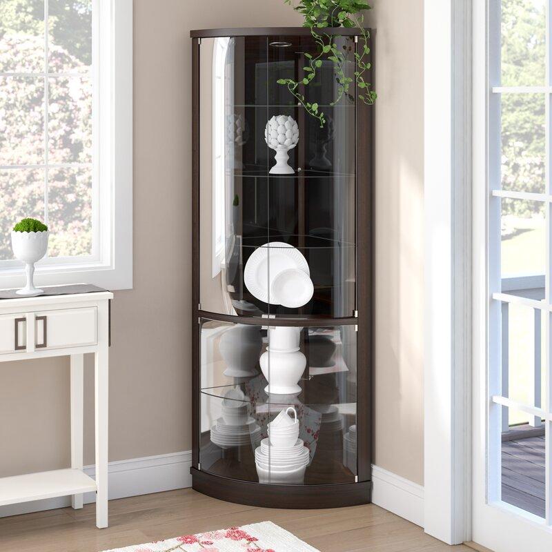 Mayfield Lighted Corner Curio Cabinet Amp Reviews Allmodern