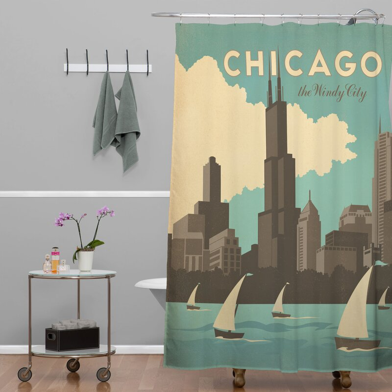 Anderson Design Group Chicago Extra Long Shower Curtain
