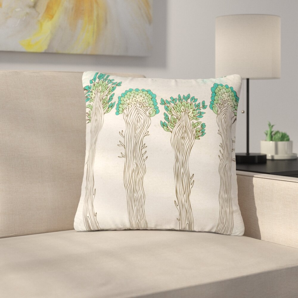 East Urban Home Pom Graphic Design Amazon Trees Outdoor Throw Pillow