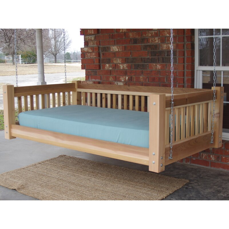 Bon Tang Cedar Traditional Style Hanging Daybed Swing