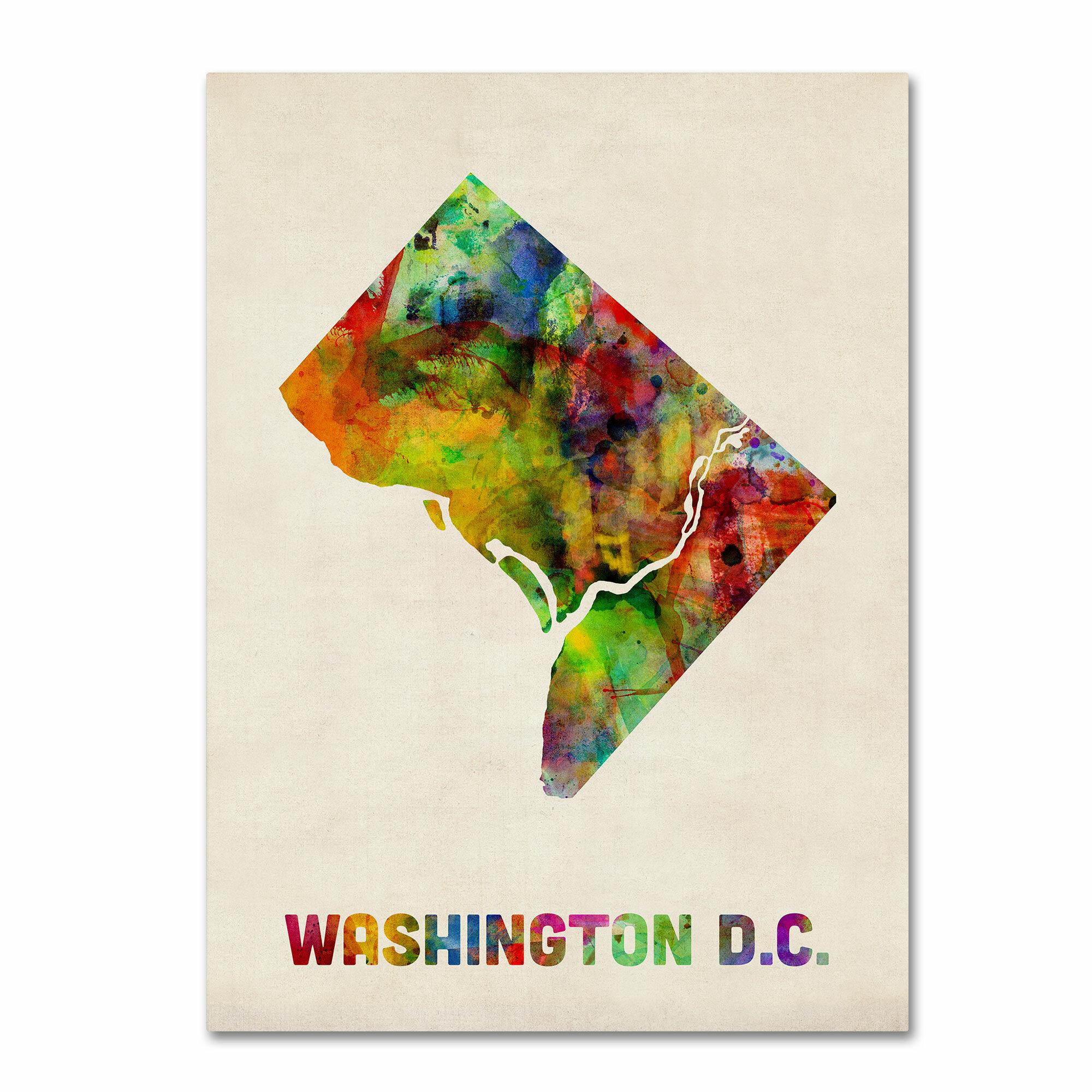 Trademark Art Washington D C Map By Michael Tompsett Framed Graphic Art On Wrapped Canvas Wayfair